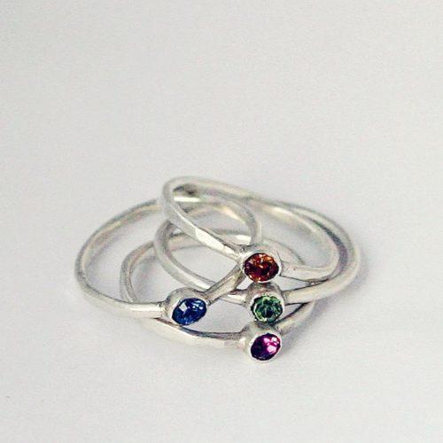 anelli con Swarovski in argento