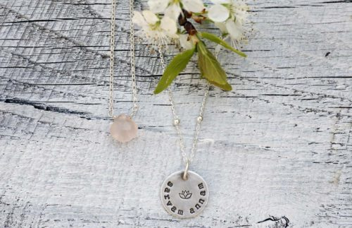collana quarzo rosa e argento