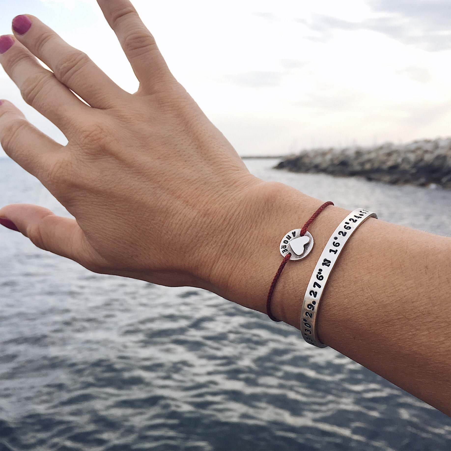 bracciale argento con coordinate